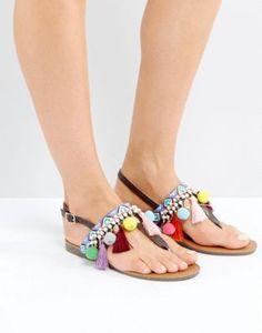 Boohoo Beaded Pom Pom Detail Sandals