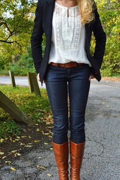 Navy Blazer. Long Boots. #fall #outfit
