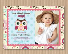 Owl Birthday Party Invitation. I Customize, You Print. Digital Printable File - Little Hoot. $18.00, via Etsy.
