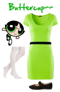 """""""Buttercup (Powerpuff Girls)"""" by ayynicebutt ❤ liked on Polyvore featuring H&M, New Look, women's clothing, women, female, woman, misses and juniors"""