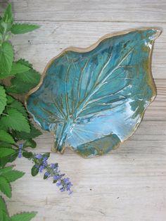 Dish Pottery Leaf Plate Stoneware Platter by MalloryvillePottery, $35.00