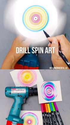 Spin Art With Kids Drill Spin Art With Kids. Fantastic process art for kids or action art project.Drill Spin Art With Kids. Fantastic process art for kids or action art project. Diy Crafts For Kids, Fun Crafts, Kids Diy, Summer Crafts, Kids Craft Projects, Older Kids Crafts, Art Club Projects, Family Art Projects, Unique Art Projects