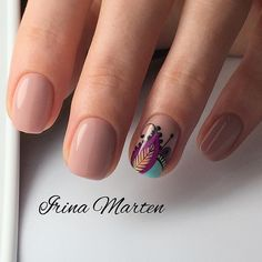 Colored stamping and nude nails Chic Nails, Stylish Nails, Love Nails, Fun Nails, Pretty Nails, Nailed It, Gel Nail Designs, Manicure And Pedicure, Natural Nails
