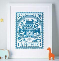 Personalised Noah's Ark Print - baby's room
