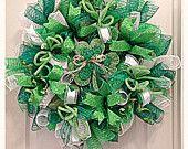 St Patrick's Day Shamrock Deco Mesh Wreath/ St Patrick's Day Wreath/ Green Wreath/Shamrock Wreath