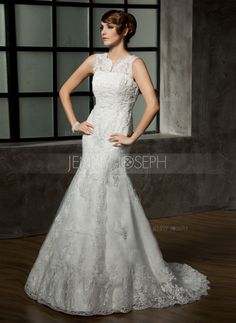 Wedding Dresses - $316.99 - Trumpet/Mermaid V-neck Court Train Satin Tulle Wedding Dress With Lace Beading (002011589) http://jennyjoseph.com/Trumpet-Mermaid-V-Neck-Court-Train-Satin-Tulle-Wedding-Dress-With-Lace-Beading-002011589-g11589