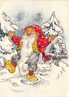 Vintage Christmas Card with Santa: Old World Christmas, Old Fashioned Christmas, Vintage Christmas Cards, Christmas Elf, Winter Christmas, Christmas Greetings, David The Gnome, Baumgarten, Kobold