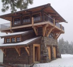 Tiny House Cabin, Log Cabin Homes, Tiny House Design, Tower House, A Frame Cabin, Cabins And Cottages, Stone Houses, Cabin Plans, Small House Plans