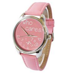 'Who Cares!' Wristwatch - Pink | ZIZ iz TIME