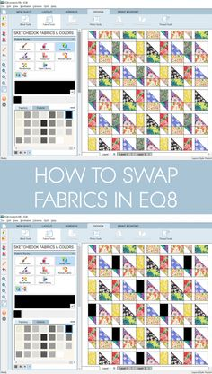 How to swap fabric colours in EQ8 by BlossomHeartQuilts.com