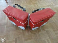 Sacoches pour cyclo ou solex ancien rouge et blanc