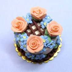 Miniature clay peach rose cake