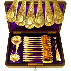 @rubylanecom 15pc Antique French .800 Silver Gilt Vermeil Tea / Coffee Set in Rare Burl Wood Inlaid Box - Spoons, Sugar Tongs, Tea Strainer