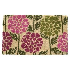 The handcrafted Entryways Dahlias Coir Door Mat showcases lovely imagery of floral blooms in pink and green that gives your home a welcoming look. The coir construction helps scrape shoe bottoms clean to keep dirt and grime from entering your home. Indoor Outdoor, Outdoor Living, Outdoor Decor, Outdoor Spaces, Outdoor Mats, Outdoor Ideas, Outdoor Furniture, Coir Doormat, Budget