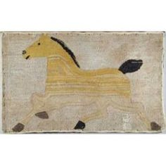 """Lot # 477 FOLK ART TROTTING HORSE HOOKED RUG. Mounted on wood stretcher. Rug shows a large yellow and tan horse with black tail, mane and hoofs. Light tan background. Stretcher stamped """"Barb. Johnson Collection"""". SIZE: 26"""" x 41"""". CONDITION: Good."""