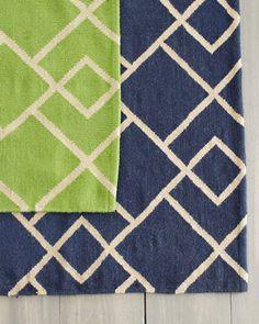 Garnet Hill Deco Diamond Flat-Weave Wool Rug- Blue color