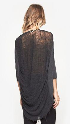 Raquel Allegra 3/4 Sleeve Cocoon Shirt in Black