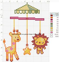 Baby Mobile Cross Stitch or Perler Bead Pattern