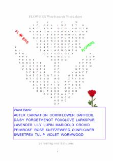 flower word search printable | For the Kids | Pinterest | Words ...