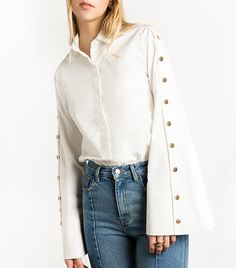 STATEMENT SLEEVES Pixie Market White Snap Button Wide Sleeve Shirt ($112)
