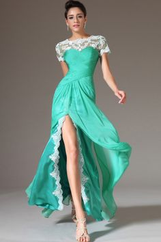 2014 Scoop Lace Neckline Short Sleeve Pleated Bodice Floor Length