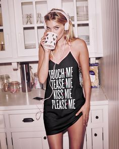 Coffee and a comfy little slip. You gotta celebrate V-Day your way.   Victoria's Secret Angel Sleep Slip