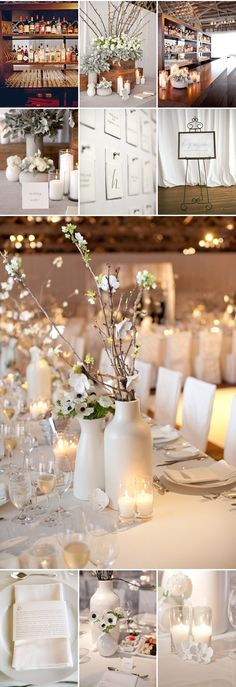 The centrepiece with 2 white vases and dogwood branches.