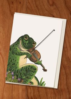 Frog With Violin Mini Card