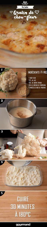 On récapitule :  1. Préchauffez votre four à 180°C.  2. Portez à ébullition le lait, la crème et la muscade.  3. Séparez le chou en petites fleurettes.  4. Disposez une couche de votre chou sur le plat et arrosez de votre mélange lait-crème.  5. Mettre au four 20 minutes à 180°C.  6. Parsemez de couche de parmesan et enfournez pour 10 minutes.