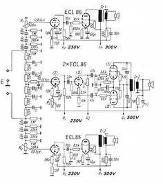 Röhren-Verstärker mit ECL 86 Electronic Circuit Projects, Electronic Engineering, Mechanical Engineering, Electrical Engineering, Radios, Diy Electronics, Electronics Projects, Diy Guitar Amp, Speaker Amplifier