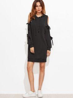 Black Bow Tie Split Sleeve Hoodie Dress