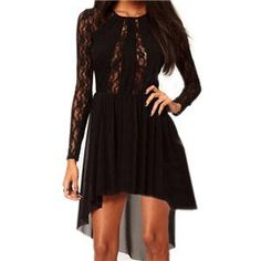 Lace Asymmertic Pleated Black Dress | berlinmo