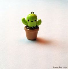 Kawaii Cactus Charm - Polymer Clay Charms, Kawaii Charms, Cactus Charms on Etsy, $3.00