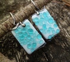 Raindrops Earrings.  Fused Glass Earrings. Blue Glass. Fused Glass Jewelry. Tack Fused  Earrings. Murano Glass Earrings. Dangle Earrings.