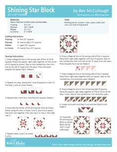 Riley Blake Designs Block Challenge – Week 2 Shining Star - Flamingo Toes Quilt Block Patterns, Pattern Blocks, Quilt Blocks, Patriotic Quilts, Shabby Fabrics, Star Blocks, Shining Star, Block Design, Riley Blake