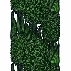 Marimekko Hyasintti Green Fabric Repeat The Marimekko Hyasintti is Anneli Qveflander's graphic take on the flowering Hyacinth plant. Printed in Finland on heavyweight cotton and perfect for project around the home, the lush greens will . Home Textile, Textile Design, Fabric Design, Hyacinth Plant, Marimekko Fabric, Thing 1, Pillow Sale, Modern Fabric, Lush Green