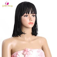 Golden Beauty 10&12inch Micro Braided Wigs for Black Women Short Synthtic Box Braid Wig with Bangs US $13.90