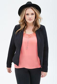 blazer in black or white: Forever 21 ($27.90) plus size fashion #plussize