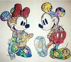 Art disney, disney images, disney pictures, disney tattoos mickey, disney m Disney Kunst, Arte Disney, Disney Art, Disney Movies, Disney Characters, Disney Collage, Disney Tattoos, Mickey And Minnie Tattoos, Cute Disney Drawings