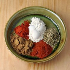 Chili Spice Mix  1 teaspoon paprika  2 teaspoons ground cumin  1 teaspoon cayenne pepper  1 teaspoon oregano  2 teaspoons garlic powder  Combine all of the ingredients together and store in an airtight container.