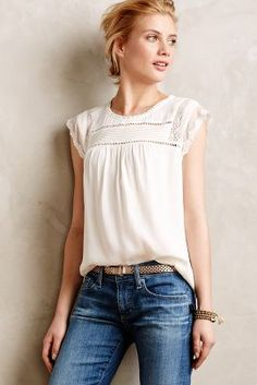 love this blouse - looks feminine and pretty with being forgiving in the bust and waist