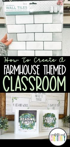 Tips and tricks on how to create the PERFECT farmhouse-themed classroom. There are so many ideas for your classroom decor and classroom organization just for you! Learn how your Kindergarten…More Math Classroom Decorations, Ela Classroom, Middle School Classroom, Classroom Design, Classroom Ideas, High School Decorations, Decorating High School Classroom, Themes For Classrooms, Highschool Classroom Decor