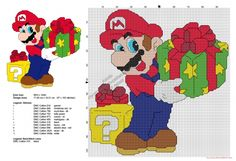 Super Mario Bros with Christmas presents free cross stitch pattern 97x102
