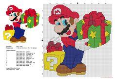 Super Mario Bros avec des cadeaux de Noël grille point de croix gratuit 97x102