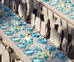 Sand-colored linens and crisp blue place settings echo the colors of the beach and the sea. Aqua Beach Weddings, Blue Beach Wedding, Nautical Wedding, Dream Wedding, Wedding Themes, Wedding Styles, Wedding Ideas, Wedding Reception, Wedding Planning