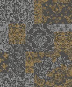 Brocade Gold/Grey wallpaper by Vymura