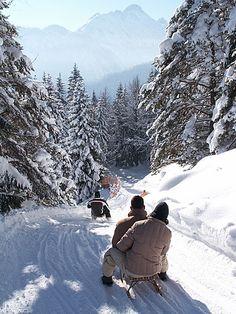 Bavaria- Tobogganing in the Alpenwelt Karwendel