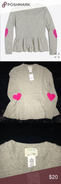 NWT Crewcuts Girls sweater sz 12 NWT Crewcuts Girls Sz 12 gray sweater with pink heart elbow patch and ruffle bottom. Cute with leggings or denim. Smoke and pet free home. Crewcuts Shirts & Tops Sweaters