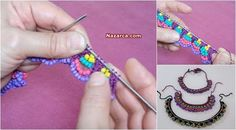 Örgü şişleri ile Örgü Boncuklu Kolye Yapılışı için Türkçe videolu Örgü Kolye Yapılışını öğreten Videoyu izleyerek Yaz için rengarenk her giysiye uyumlu Örgü Boncuk Kolye Tasarımları yapabilirsiniz.… Bead Crochet, Crochet Necklace, Beaded Necklace, Yarn Crafts, Diy And Crafts, Do It Yourself Jewelry, Knit Fashion, Baby Sweaters, Beaded Embroidery
