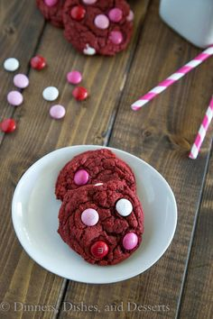 Thick and chew red velvet cookies made from a cake mix. Super quick and easy.